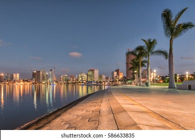Luanda's bay front walk at dusk