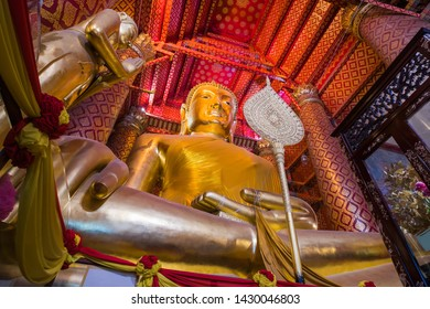 Luang Pho To Buddha statue inside the temple, Wat Phanan Choeng Voravihara, It is one of the temple oldest and important temple for Ayutthaya, Thailand