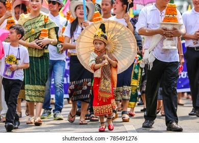 Luang Prabang, Lao - April 15, 2014 : Nang Songkarn in songkarn festival or Lao new year at Luang Prabang heritage, Lao.