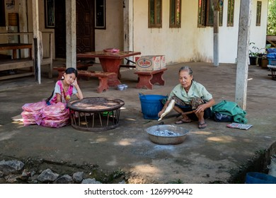 luang prabang, laos - 11 20, 2018: street kitchen
