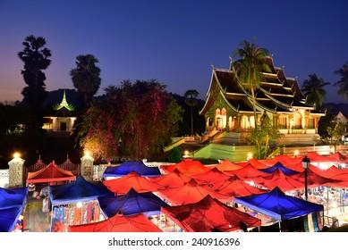 Luang Prabang, Laos : 14 DEC 2014 - The night souvenir market in front of  National museum of Luang Prabang