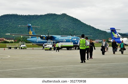 LUANG PRABANG, LAOS -6 DEC 2015- The Luang Prabang International Airport (LPQ), surrounded by mountains, receives airplanes mostly from Lao Airlines and Vietnam Airlines.