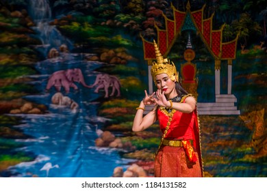 LUANG PRABANG , LAOS - AUG 10 : Laotian dancer perform in the Royal Ballet Theatre in Luang Prabang Laos on August 10 2018.