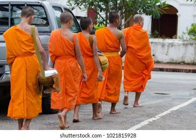 LUANG PRABANG, LAOS - AUGUST, 2017 : Monks gathering morning alms.This photo taken in street at Luang Prabang town on August 17th 2017.