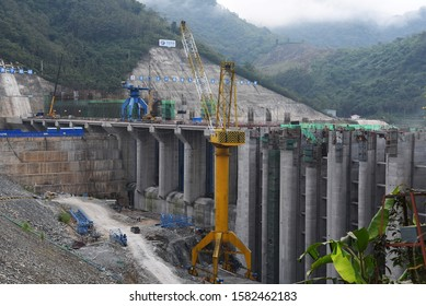 LUANG PRABANG, LAOS- JANUARY 07, 2019: view of the new huge project hydropower dam in the Mekong on January 07,2019 in Luang Prabang, Laos