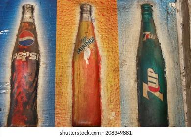 LUANG PRABANG, LAOS - MARCH 15 2014: Vintage Pepsi Fanta 7up logo . Pepsi is a carbonated soft drink on March 15,2014 luang prabang, laos