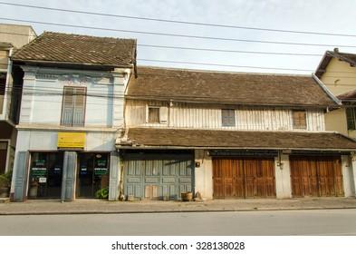 LUANG PRABANG, LAOS - MAY 14 : Ancient building in Luang phabang - This is a Colonial style buildings. MAY 14, 2014