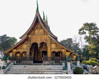luang prabang, laos - november 20, 2018: wat xienthong temple. luang prabang is a unesco world heritage site