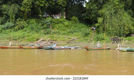 LUANG PRABANG, LAOS - SEP 25, 2014: Mekong river. It is the world's 12th-longest river and the 7th-longest in Asia.