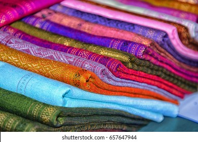 Luang Prabang - Laos, textiles for sale, colored cloth
