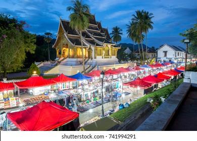 Luang Prabang night market and Royal palace of Luang Prabang or Luang Prabang national museum, Laos.