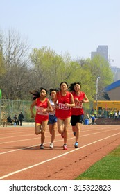 LUANNAN COUNTY - APRIL 14: Women's 100 meter race scene at the athletics meeting, April 14, 2015, Luannan County, Hebei Province, China