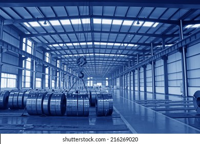 LUANNAN COUNTY - AUGUST 16: Ultra-thin cold-rolled strip steel storage workshop in a factory, on august 16, 2014, Luannan County, Hebei Province, China