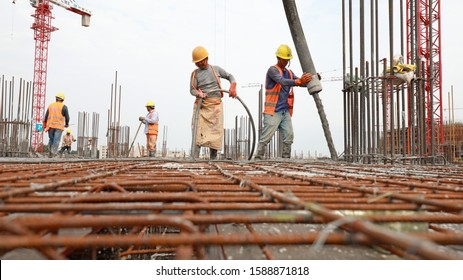 Luannan County, China - September 10, 2019: Construction site concrete pouring site, Luannan County, Hebei Province, China