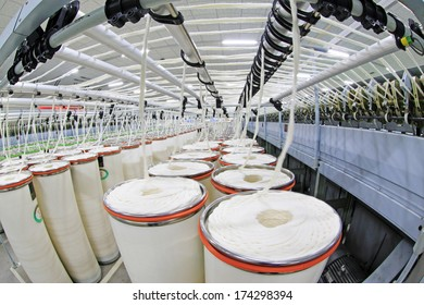 LUANNAN COUNTY - DECEMBER 20: combed cotton production line in the ZeAo spinning LTD., on December 20, 2013, Luannan county, hebei province, China.