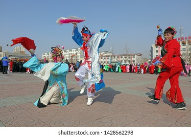 Luannan County - February 15, 2019: Chinese folk dance Yangko performance in the square, Luannan County, Hebei Province, China