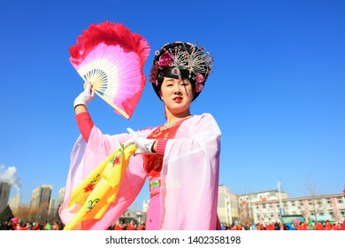 Luannan County - February 17, 2019: Chinese folk dance Yangko performance in the square, Luannan County, Hebei Province, China