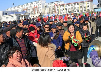 Luannan county - February 20: traditional Chinese style yangko percussionist on the square, on February 20, 2016, luannan county, hebei province, China