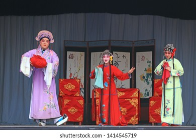Luannan County - February 22, 2019: Chinese Peking Opera Performed on the Stage, Luannan County, Hebei Province, China