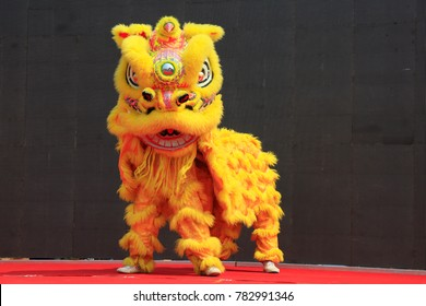 Luannan County - June 16, 2016: Chinese traditional lion dance performance at the temple fair, Luannan County, Hebei Province, China