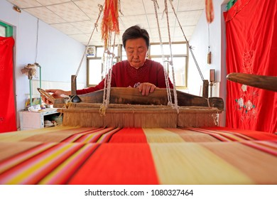 Luannan County - March 30, 2018: Indigenous heritage in the weaving weaving process, Luannan County, Hebei Province, Chinese