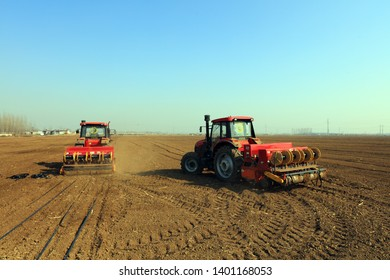 Luannan County - March 8, 2019: Rotary tiller planters grow peas on farms, Luannan County, Hebei Province, China