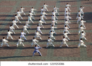 Luannan County - May 19, 2018: Chinese Taijiquan performance is on the square, Luannan County, Hebei Province, China