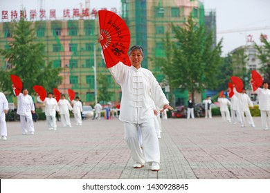 089ad8132 Luannan County - May 19, 2019: Chinese Tai Chi Kung Fu Fan Performing in