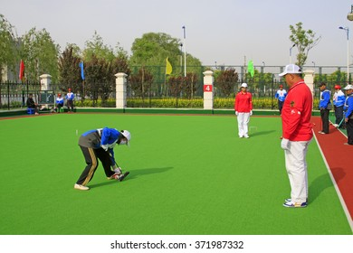 Luannan County - May 6: Chinese gate ball match scene, on May 6, 2015, Luannan County, Hebei Province, China.
