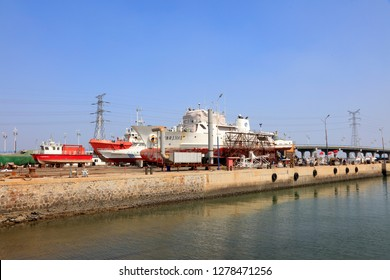Luannan County - September 1, 2018: Dockyard landscape in a shipyard, Luannan County, Hebei Province, China