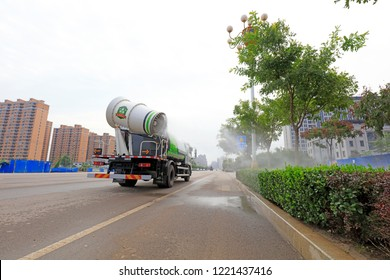 Luannan County - September 18, 2018: Multifunctional dust suppression vehicle in the streets, Luannan County, Hebei Province, China