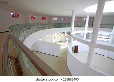 LUANNAN COUNTY - SEPTEMBER 18: glass walls and pillars in an art gallery on September 18, 2014, Luannan county, Hebei Province, China