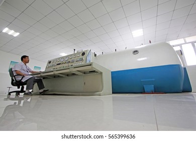 Luannan - June 29: hyperbaric oxygen chamber in the hospital, on June 29, 2015, luannan county, hebei province, China