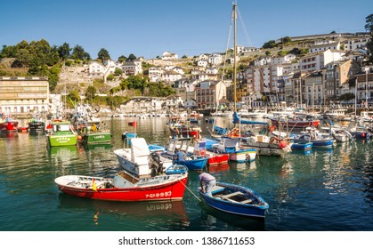 Luarca, Spain-Septemeber 2018. Harbour in a pretty village in Asturias in a sunny day. You can see the boats in the sea