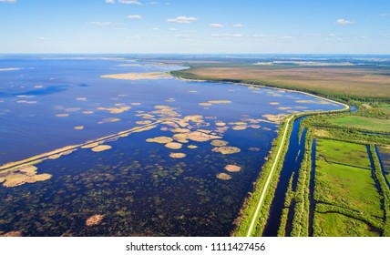 Lubans - largest lake of Latvia, aerial views photographed by drone