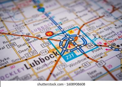 Lubbok on USA travel map