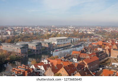 Lubeck, Germany. Beautiful view of city and river Trave on autumn day.