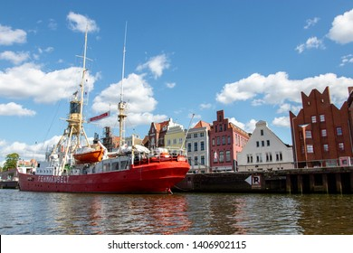 LUBECK, GERMANY - MAI 12, 2019: Boat at the river Trave in Lubec
