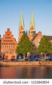 LUBECK, GERMANY - MAY 7, 2018: Photo of Embankment of the river Trave.