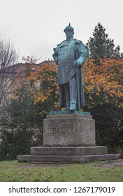 LUBECK, GERMANY - November 7, 2018:  Statue of Otto von Bismarck.  Lubeck is listed by UNESCO as a World Heritage Site.