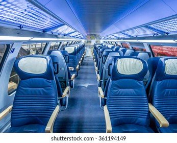 LUBECK, GERMANY - SEP 11: Train interiors of Deutsche Bahn in Lubeck, Germany on September 11, 2013. Deutsche Bahn is the largest railway operator and infrastructure owner in Europe.