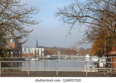 Lubeck, Germany. View of river Trave. Autumn day.