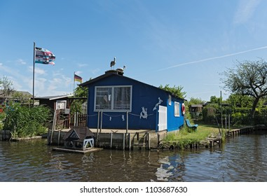LUBECK, GERMANY-MAY 25, 2018: allotment gardens at the old trave, lubeck, germany