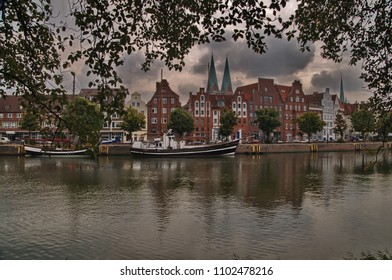 Lubeck Northern Germany Schleswig Holstein Town Port Over River Trave Hanseatic City League