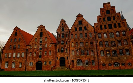 Lubeck, Schleswig-Holstein, Germany, November 2017, the old Warehouses on the river Trave canal