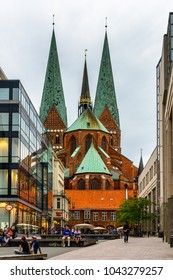 LUBEK, GERMANY - AUGUST 2, 2017: St. Mary's Church of the Old Part of Lubeck, a city in Schleswig-Holstein, northern Germany. UNESCO World Heritage