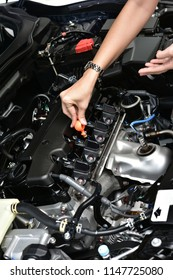 Lubicant engine oil level check.