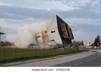 Lubin, Poland. 16 April; 2015: Blowing up the old building of football club Zaglebie Lubin.