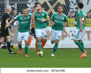 LUBIN, POLAND - APRIL 12, 2014: Ivica Vrdoljak (21) after shotting a goal during match Polish T-Mobile Premier League between KGHM Zaglebie Lubin - Legia Warszawa 1:3.