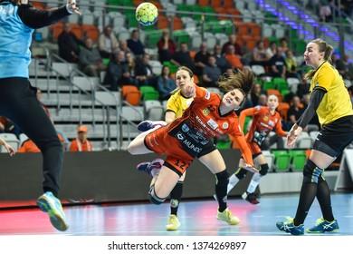 LUBIN, POLAND - APRIL 17, 2019: Handball women Polish PGNiG match between Metraco Zaglebie Lubin vs  KPR Gminy Kobierzyce 28:18. In action Agata Wasiak.